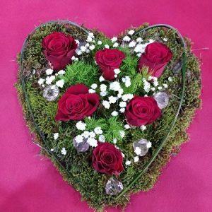 Καρδιά με μούσκλι και τριαντάφυλλα μεγάλη