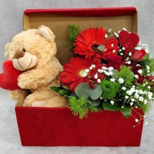 Βελούδινο κουτί με αρκουδάκι
